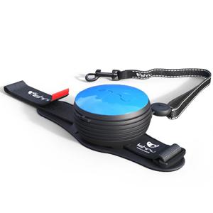 Автоматический поводок рулетка на руку голубой