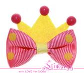 """Бантик """"Crown"""" роз/жел яркий"""
