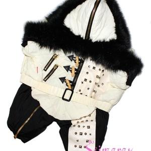 Зимний комбинезон Fur Zip молочный