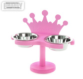 "Подставка с мисками ""Корона"" розовая"