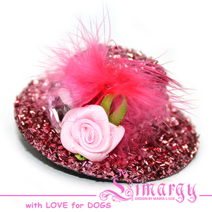 Заколка Шляпка-розочка розовая