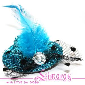 Заколка Шляпка-сеточка голубая