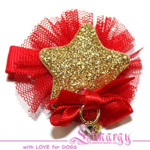 Заколка Звезда мини красная