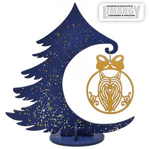 Новогодняя Ёлочка с игрушкой Хохлатая (золото)