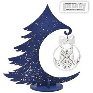 Новогодняя Ёлочка с игрушкой Хохлатая (серебро)