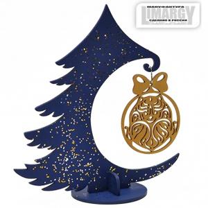 Новогодняя Ёлочка с игрушкой Шпиц (золото)