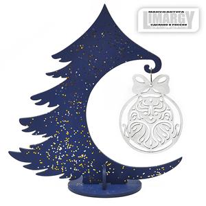 Новогодняя Ёлочка с игрушкой Шпиц (серебро)