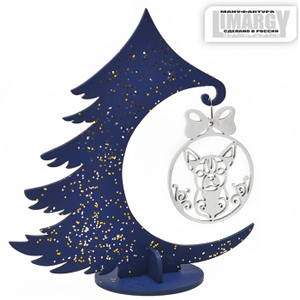 Новогодняя Ёлочка с игрушкой Чихуа (серебро)